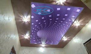 3Д опънат таван с RGB диодно осветление в коридор - Пазарджик.